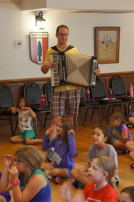 "Morning gathering with ""Johnny the accordian!"""