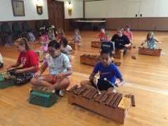Playing Orff instruments!